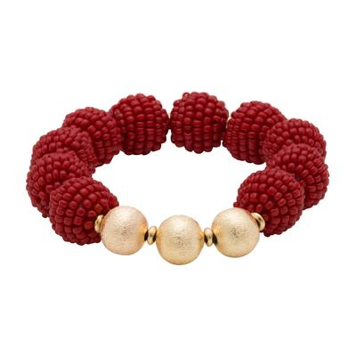 Crimson Seed Bead Ball Stretch Bracelet