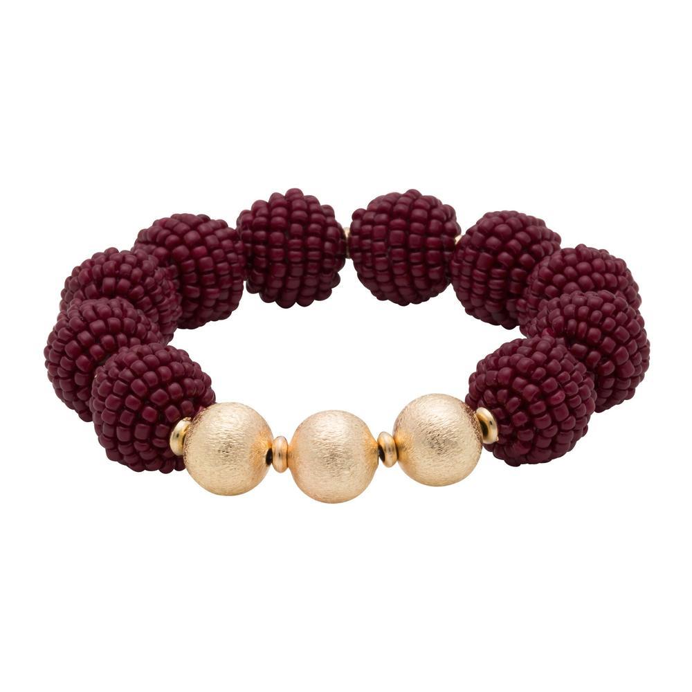Maroon Seed Bead Ball Stretch Bracelet