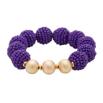 Purple Seed Bead Ball Stretch Bracelet