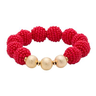 Red Seed Bead Ball Stretch Bracelet