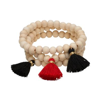 Black & Red Triple Cotton Tassel Bracelets