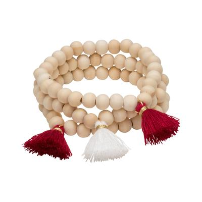 Crimson & White Triple Cotton Tassel Bracelets