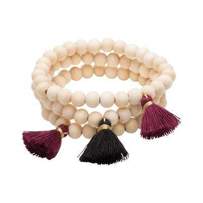 Maroon & Black Triple Cotton Tassel Bracelets