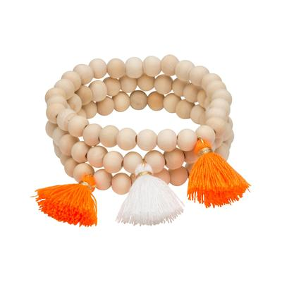 Orange & White Triple Cotton Tassel Bracelets