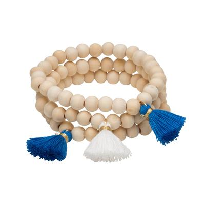 Royal & White Triple Cotton Tassel Bracelets