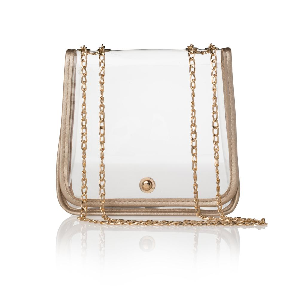 Clear Stadium Crossbody With Gold Trimming