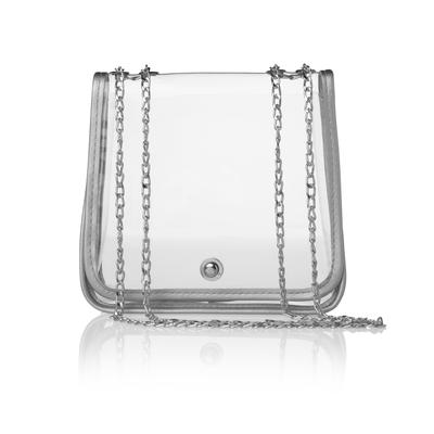 Clear Stadium Crossbody with Silver Trimming
