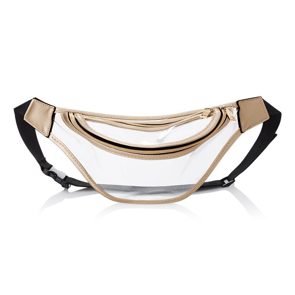 Clear Stadium Fanny Pack With Gold Trimming