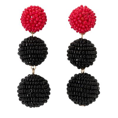 Red & Black Bead Ball Drop Earrings