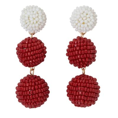 Crimson & White Bead Ball Drop Earrings