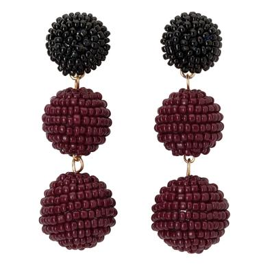 Maroon & Black Bead Ball Drop Earrings