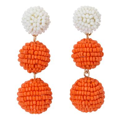 Orange & White Bead Ball Drop Earrings