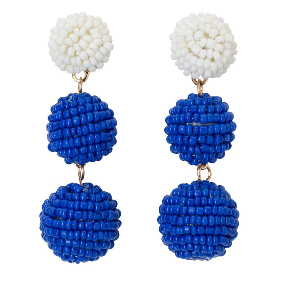 Royal & White Bead Ball Drop Earrings