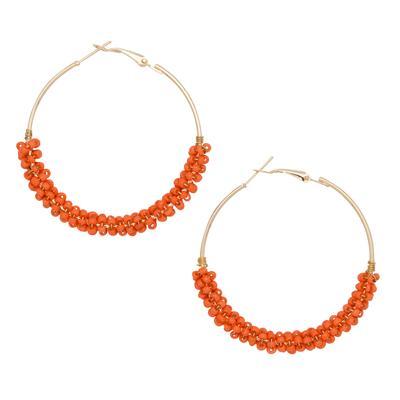 Orange Seed Bead Hoop Earrings