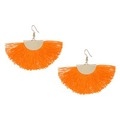 Orange Gold Fan Tassel Earrings