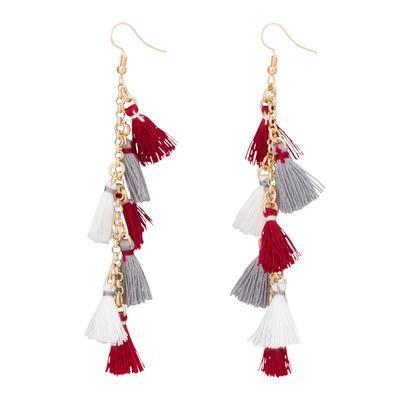 Crimson & White Small Tassel Earrings