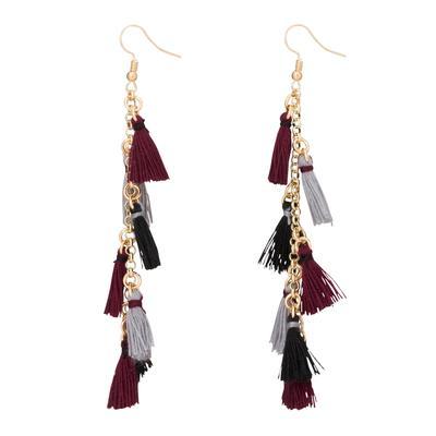 Garnet & Black Small Tassel Earrings