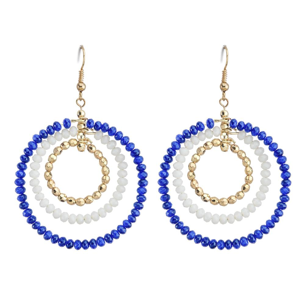 Royal & White Triple Hoop Beaded Earrings