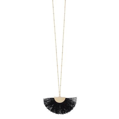 Black Gold Fan Tassel Necklace