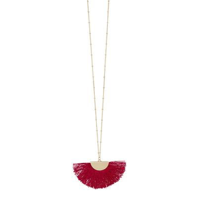 Crimson Gold Fan Tassel Necklace