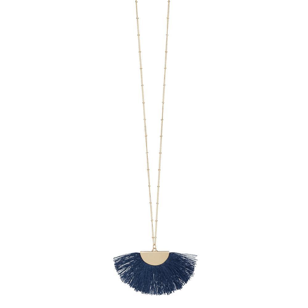 Navy Gold Fan Tassel Necklace