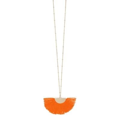 Orange Gold Fan Tassel Necklace