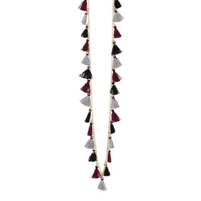 Maroon & Black Small Tassel Necklace