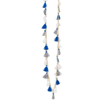 Royal & White Small Tassel Necklace