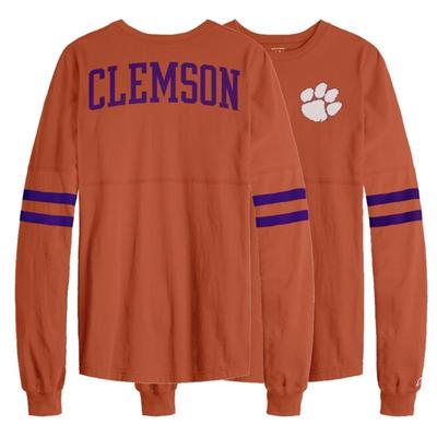 Clemson League Sporty Stripe Rah Rah Long Sleeve Tee