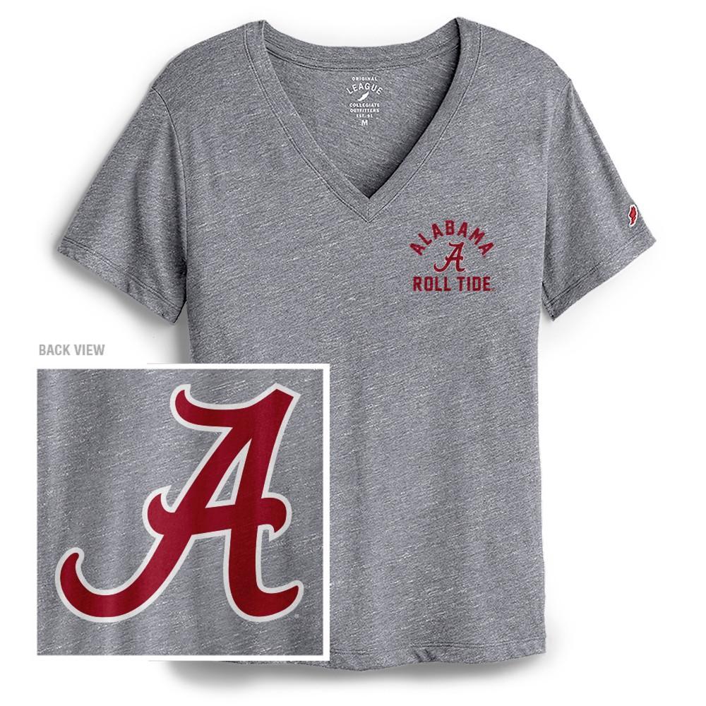 Alabama League Women's Intramural Boyfriend V Neck Dual Location Tee