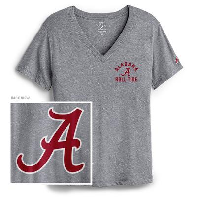 Alabama League Women's Intramural Boyfriend V Neck Dual Location Tee