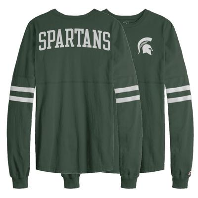 Michigan State League Sporty Stripe Rah Rah Long Sleeve Tee