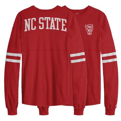 NC State League Sporty Stripe Rah Rah Long Sleeve Tee