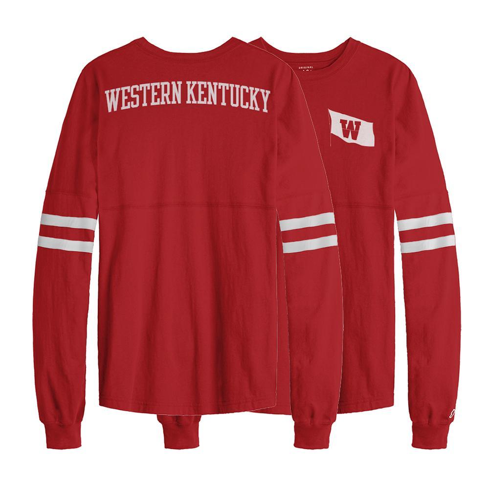 Western Kentucky League Sporty Stripe Rah Rah Long Sleeve Tee