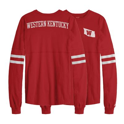 Western Kentucky League Sporty Stripe Rah Rah Long Sleeve Tee