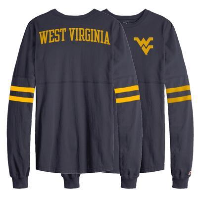 West Virginia League Sporty Stripe Rah Rah Long Sleeve Tee