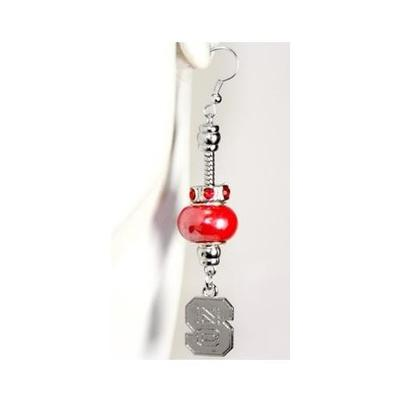 NC State Beaded Charm Earrings