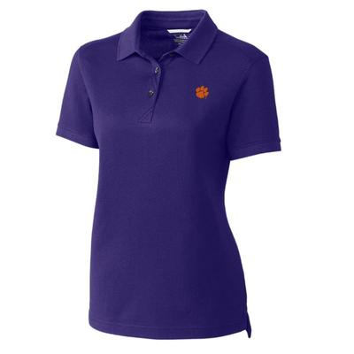 Clemson Cutter And Buck Women's Advantage DryTec Polo COLL_PPL