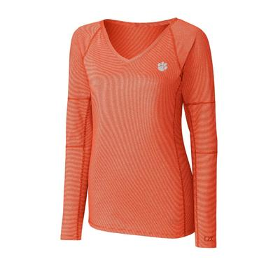 Clemson Cutter And Buck Women's Victory Neck Long Sleeve Tee