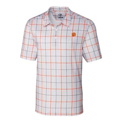 Clemson Cutter & Buck Gordon Plaid Print Polo