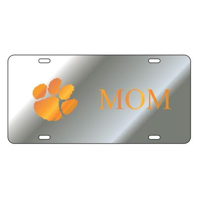 Clemson License Plate Silver Mom