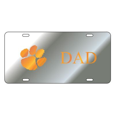 Clemson License Plate Silver Dad