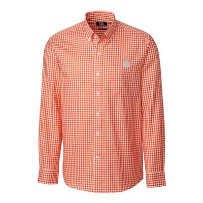 Clemson Cutter & Buck League Gingham Long Sleeve Woven