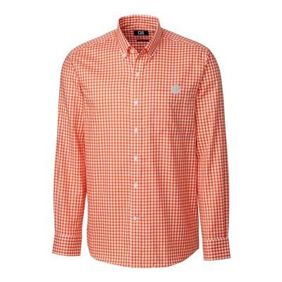 Clemson Cutter & Buck League Gingham Long Sleeve Woven