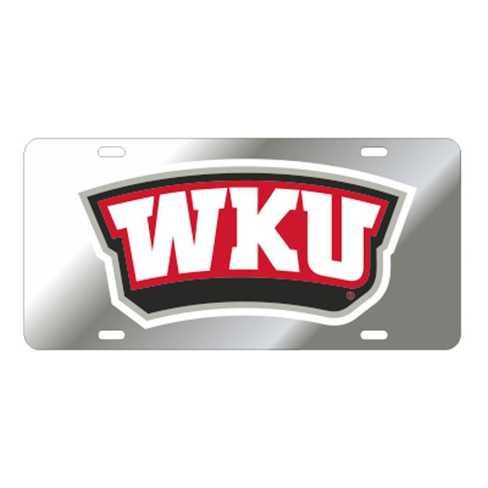 Western Kentucky License Plate Silver/Red Wku Logo