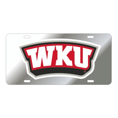 Western Kentucky License Plate Silver/Red WKU Logo
