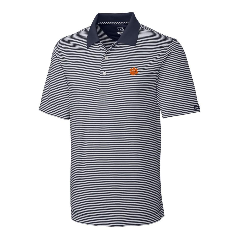 Clemson Cutter And Buck Big And Tall Trevor Stripe Polo