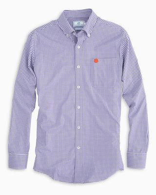 Clemson Southern Tide Gingham Intercoastal Woven Shirt REGAL_PPL