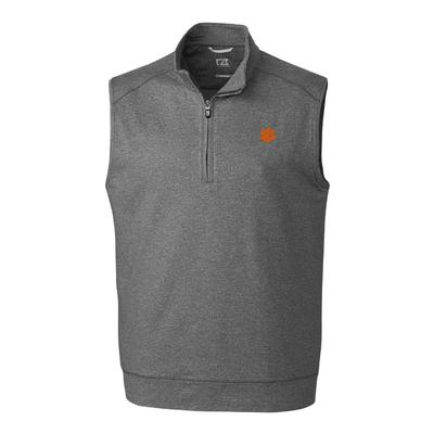 Clemson Cutter & Buck Big and Tall Shoreline 1/2 Zip Vest