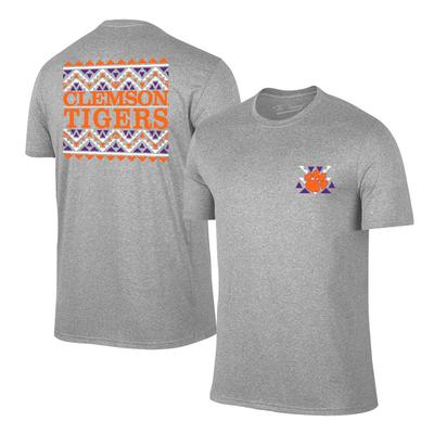 Clemson Youth Aztec Pattern Short Sleeve Tee GREY